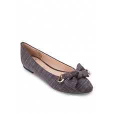Brown Textile Flats with bow