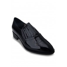 Black Pointed Toe Patent Slip-Ons