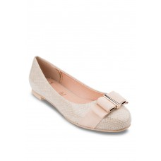 Cream Flats With Wide Bow