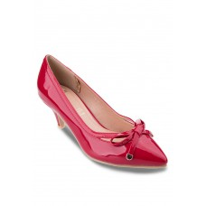 Red Pointed Heels with Bow and V shape design